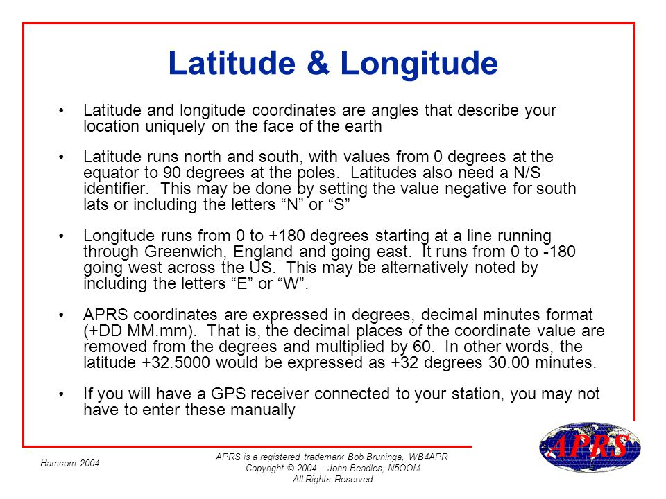 Latitude & Longitude Latitude and longitude coordinates are angles that describe your location uniquely on the face of the earth.