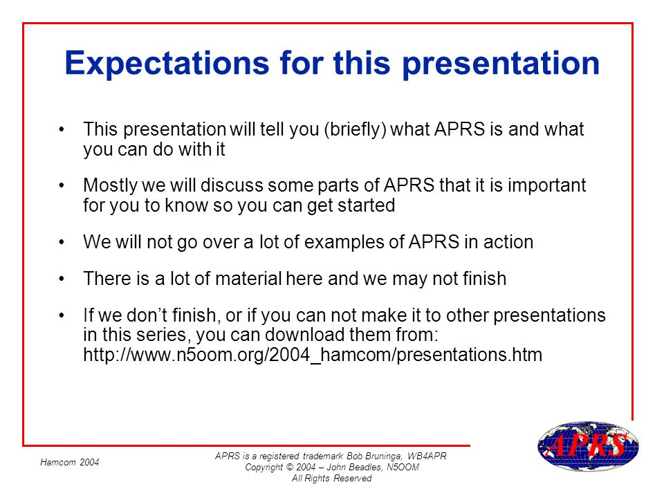 Expectations for this presentation