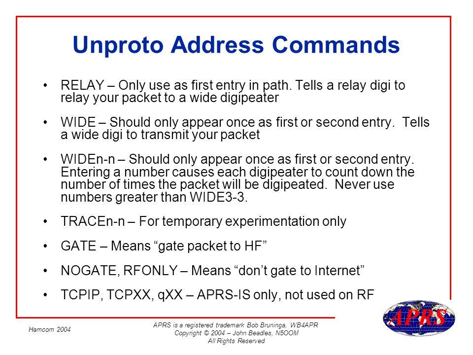 Unproto Address Commands