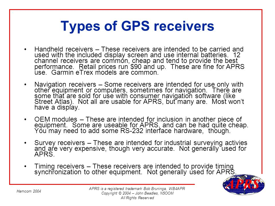 Types of GPS receivers