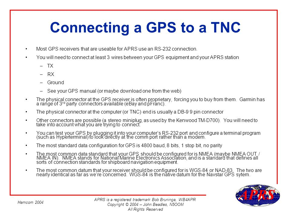 Connecting a GPS to a TNC