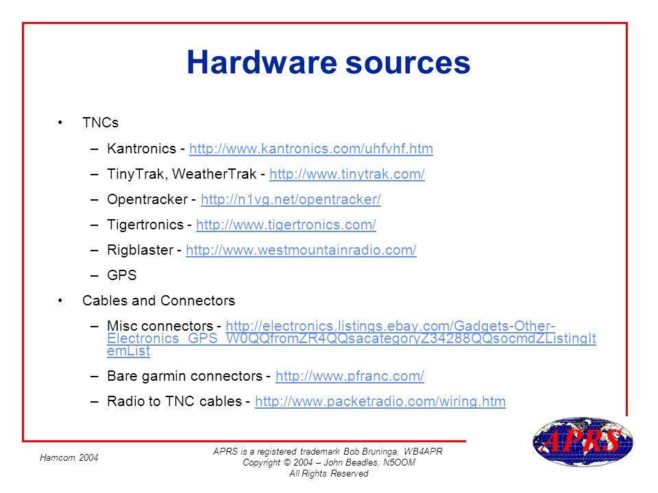 Hardware sources TNCs. Kantronics - http://www.kantronics.com/uhfvhf.htm. TinyTrak, WeatherTrak - http://www.tinytrak.com/