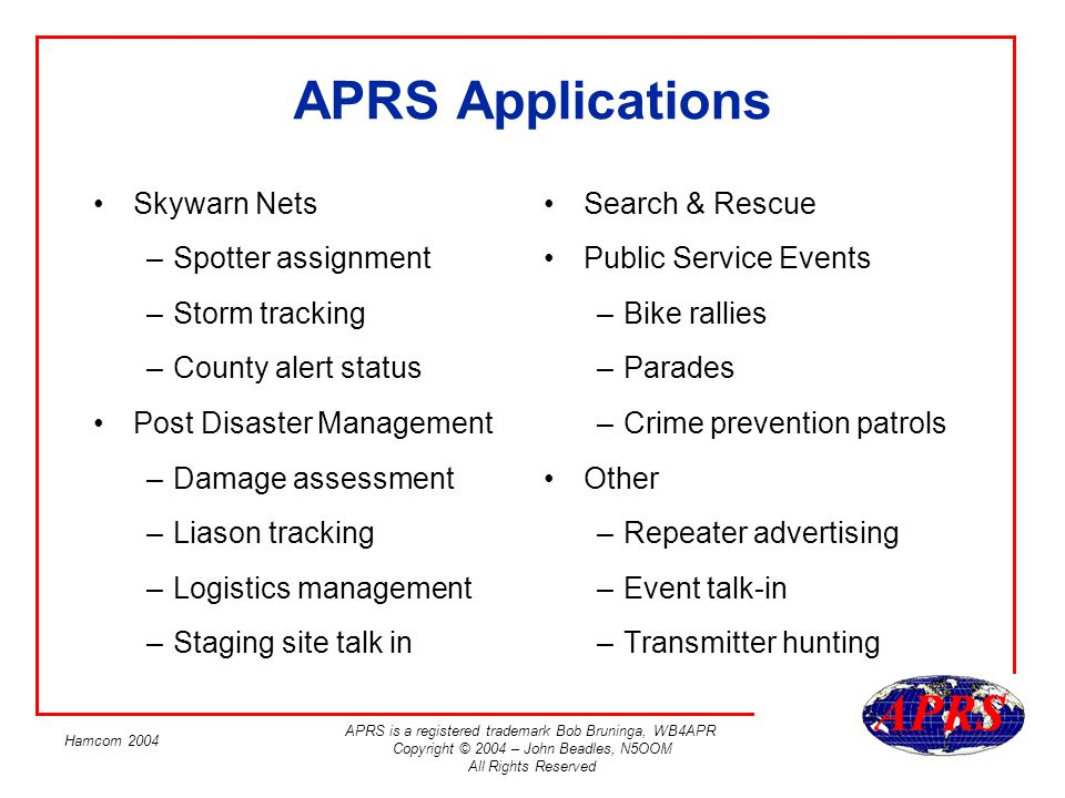 APRS Applications Skywarn Nets Spotter assignment Storm tracking