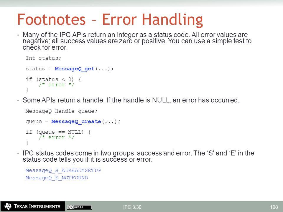 Footnotes – Error Handling