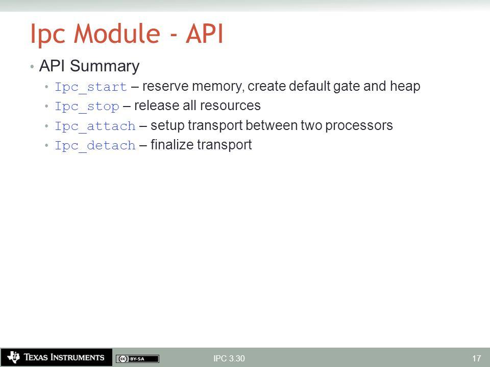 Ipc Module - API API Summary