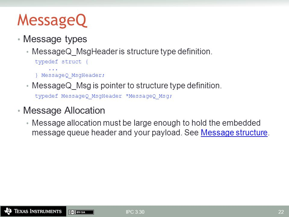 MessageQ Message types Message Allocation