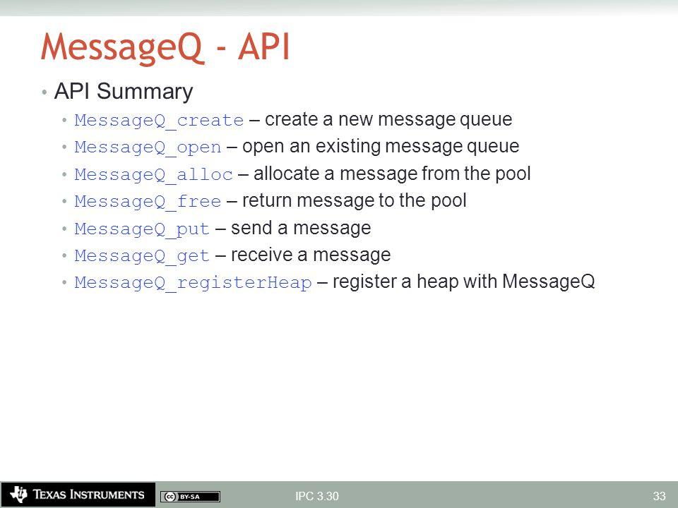 MessageQ - API API Summary