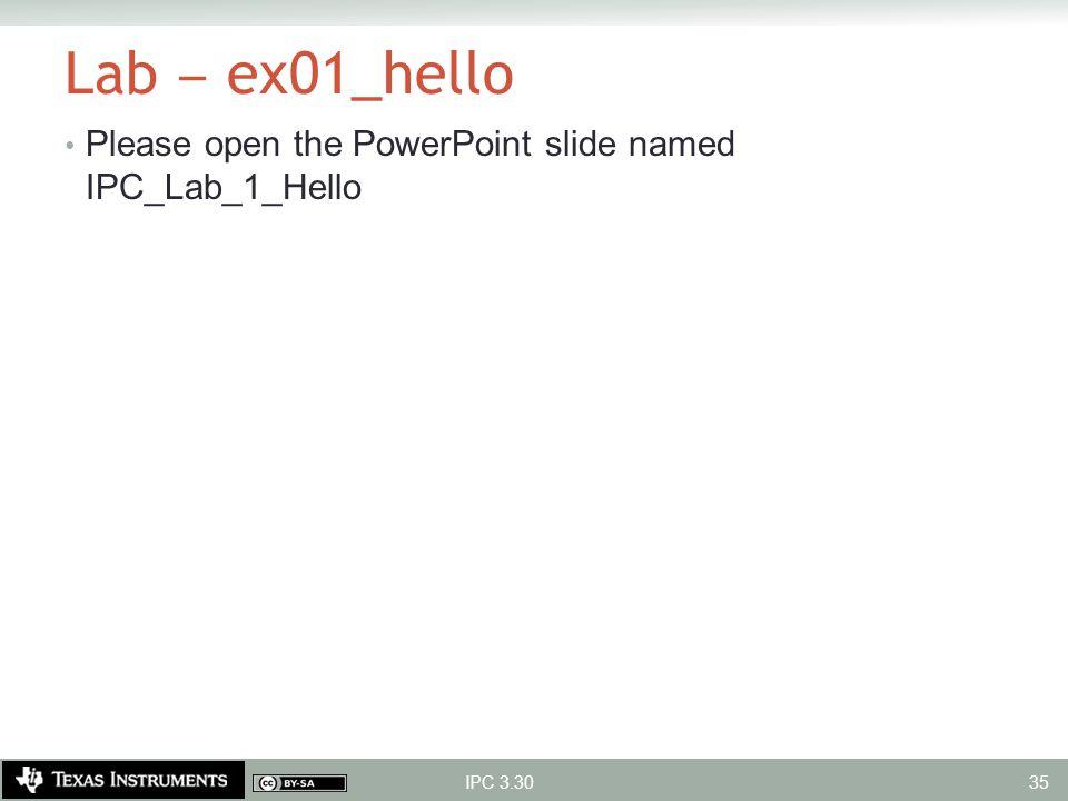 Lab ‒ ex01_hello Please open the PowerPoint slide named IPC_Lab_1_Hello IPC 3.30