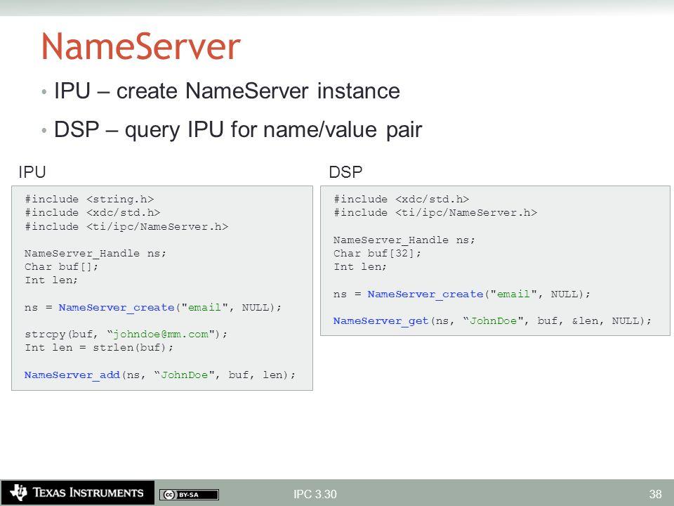 NameServer IPU – create NameServer instance