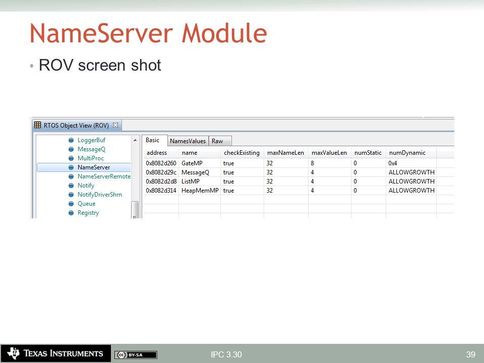 NameServer Module ROV screen shot IPC 3.30