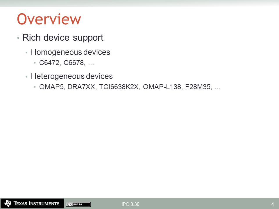 Overview Rich device support Homogeneous devices Heterogeneous devices