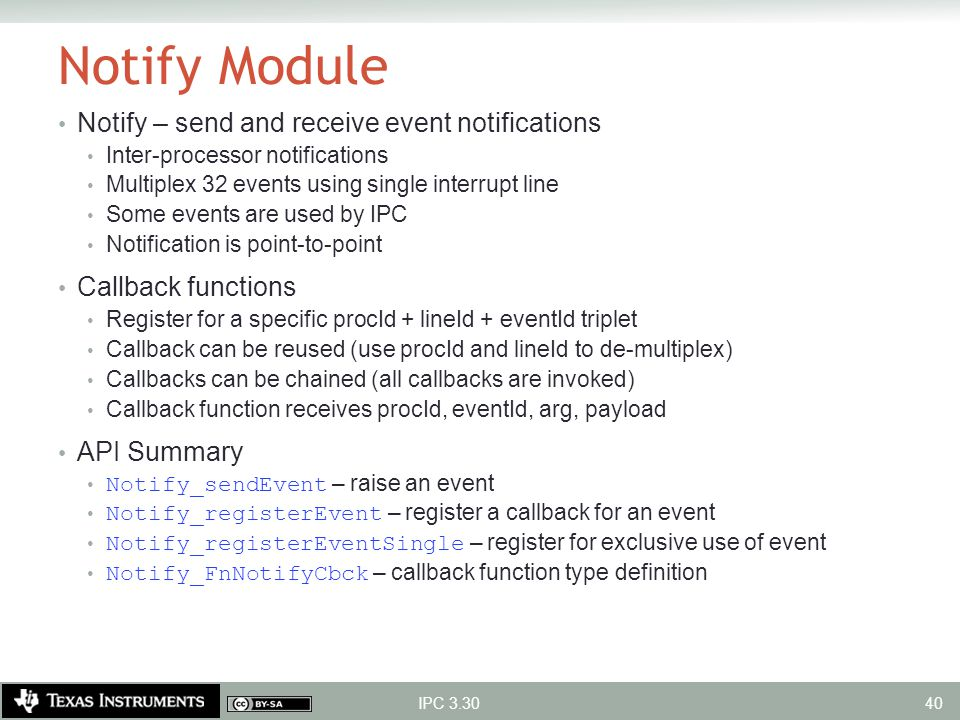 Notify Module Notify – send and receive event notifications