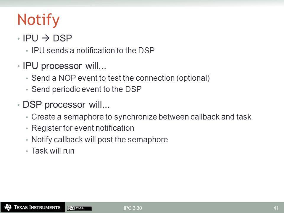 Notify IPU  DSP IPU processor will... DSP processor will...