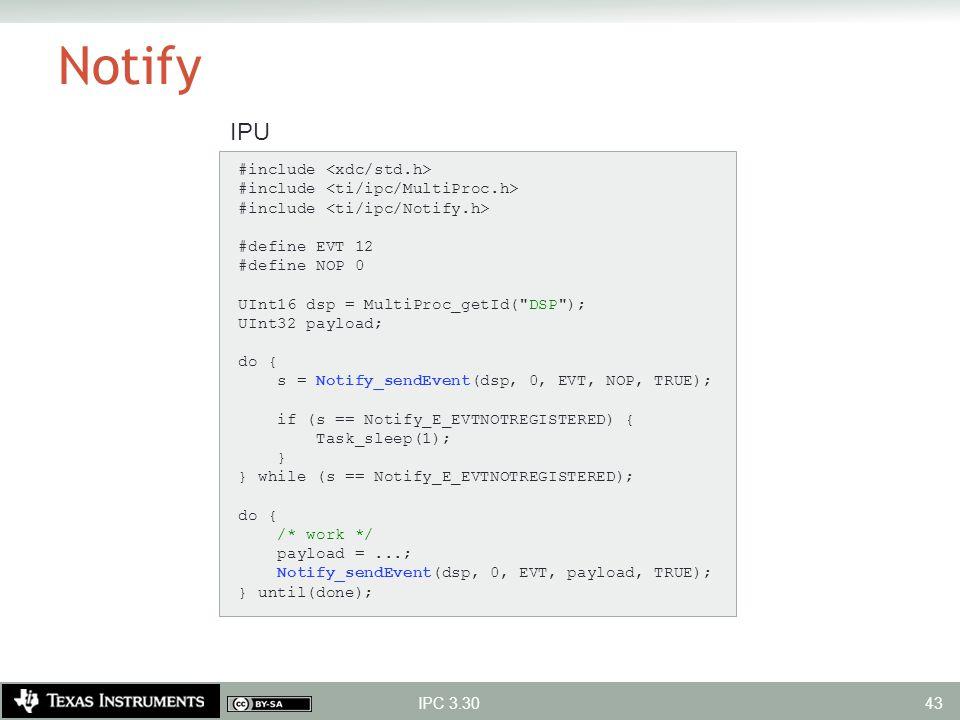 Notify IPU #include <xdc/std.h>