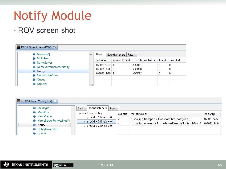 Notify Module ROV screen shot IPC 3.30
