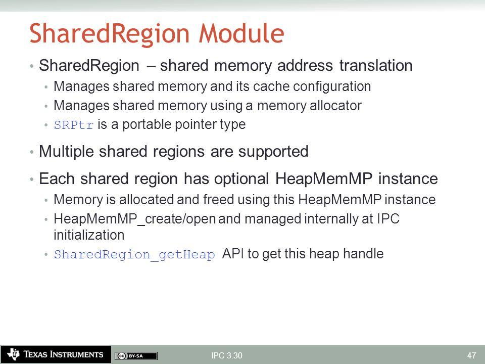 SharedRegion Module SharedRegion – shared memory address translation
