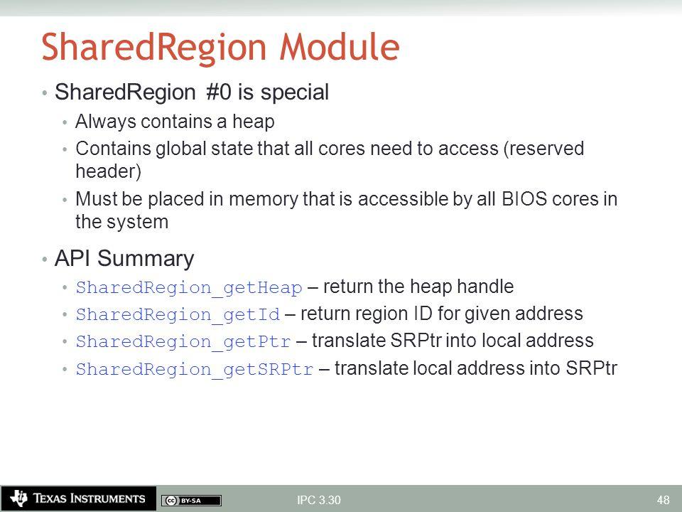 SharedRegion Module SharedRegion #0 is special API Summary