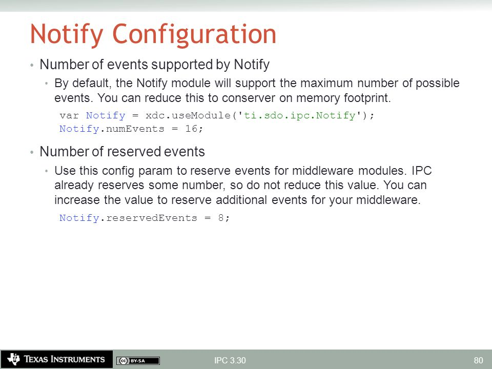 Notify Configuration Number of events supported by Notify