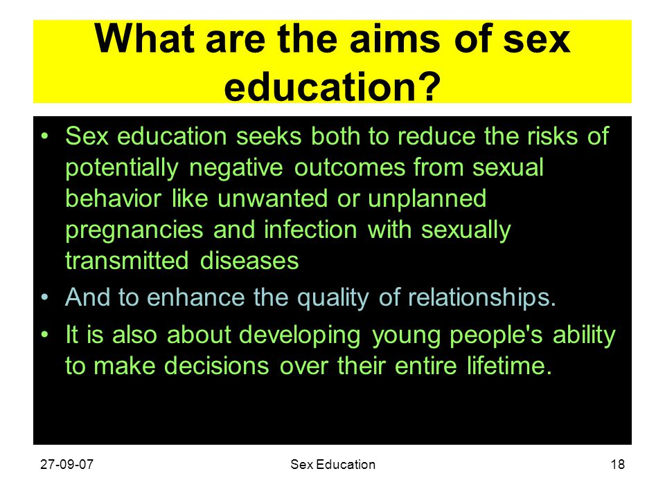 What are the aims of sex education