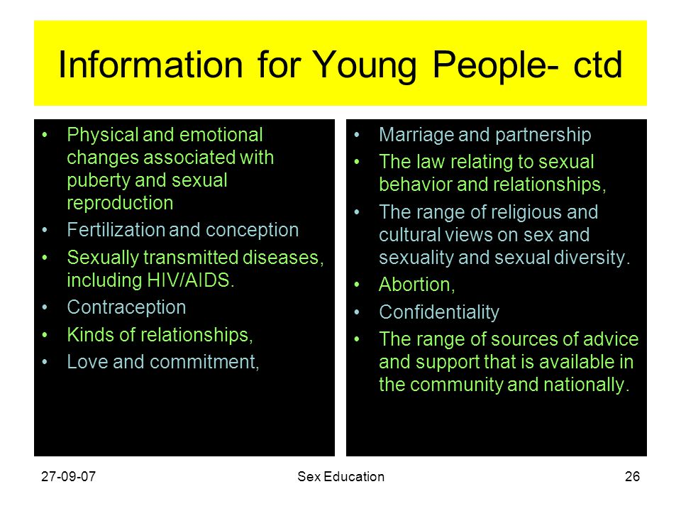 Information for Young People- ctd