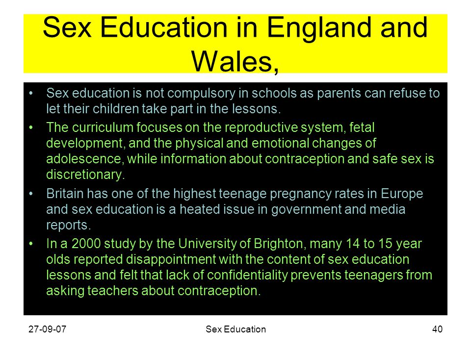 Sex Education in England and Wales,
