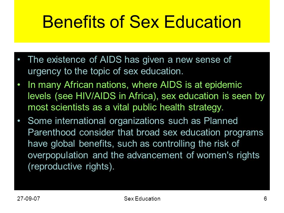 advantages sex education