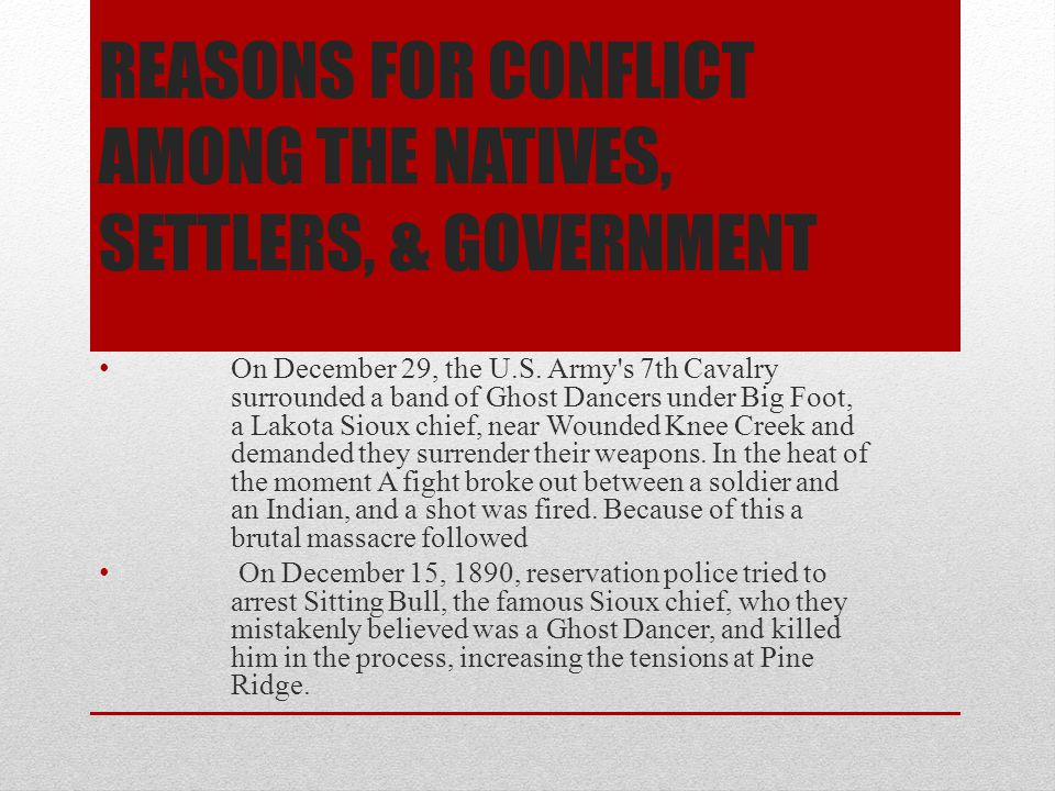 Reasons for conflict among the natives, settlers, & government