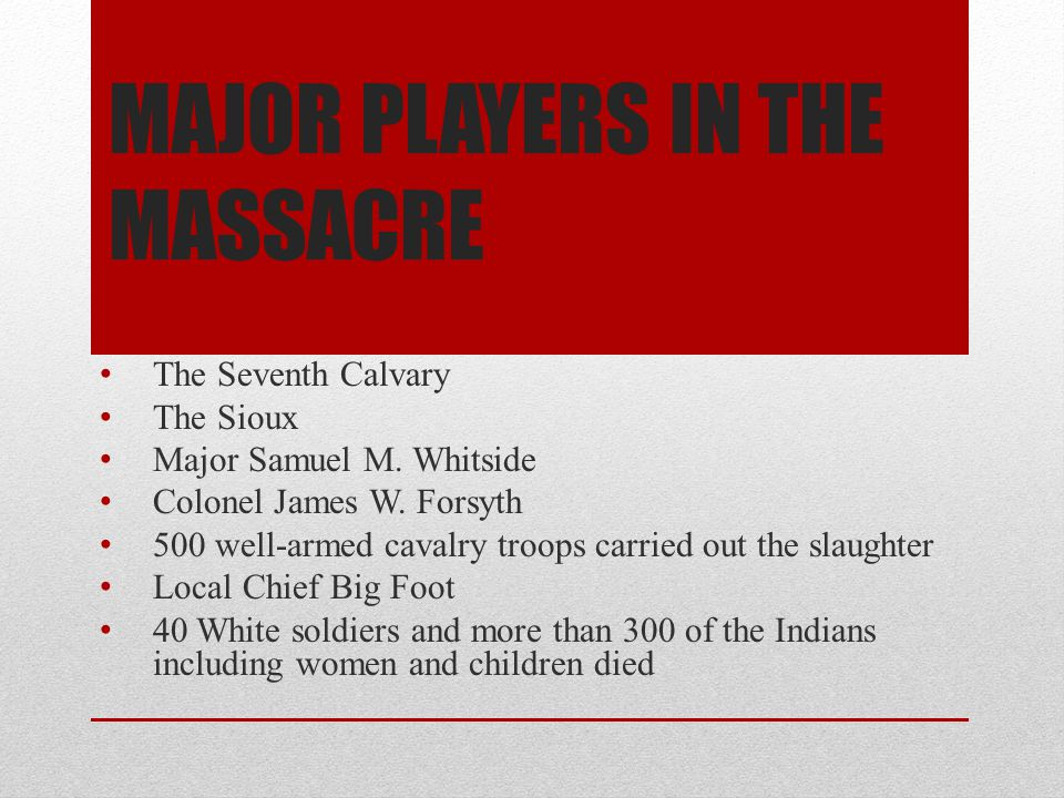 Major Players in the massacre