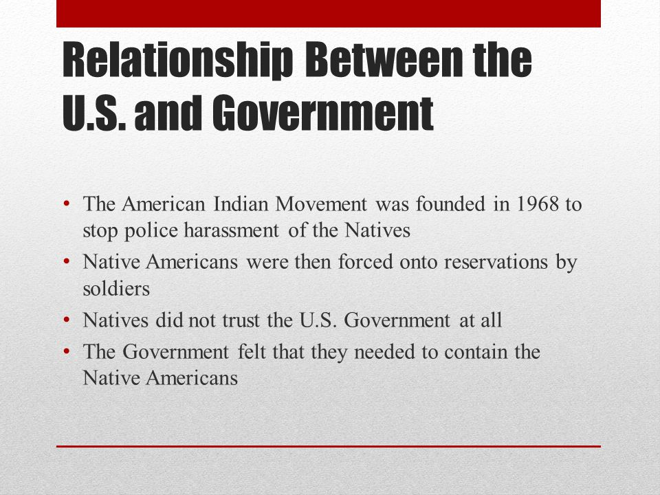 Relationship Between the U.S. and Government