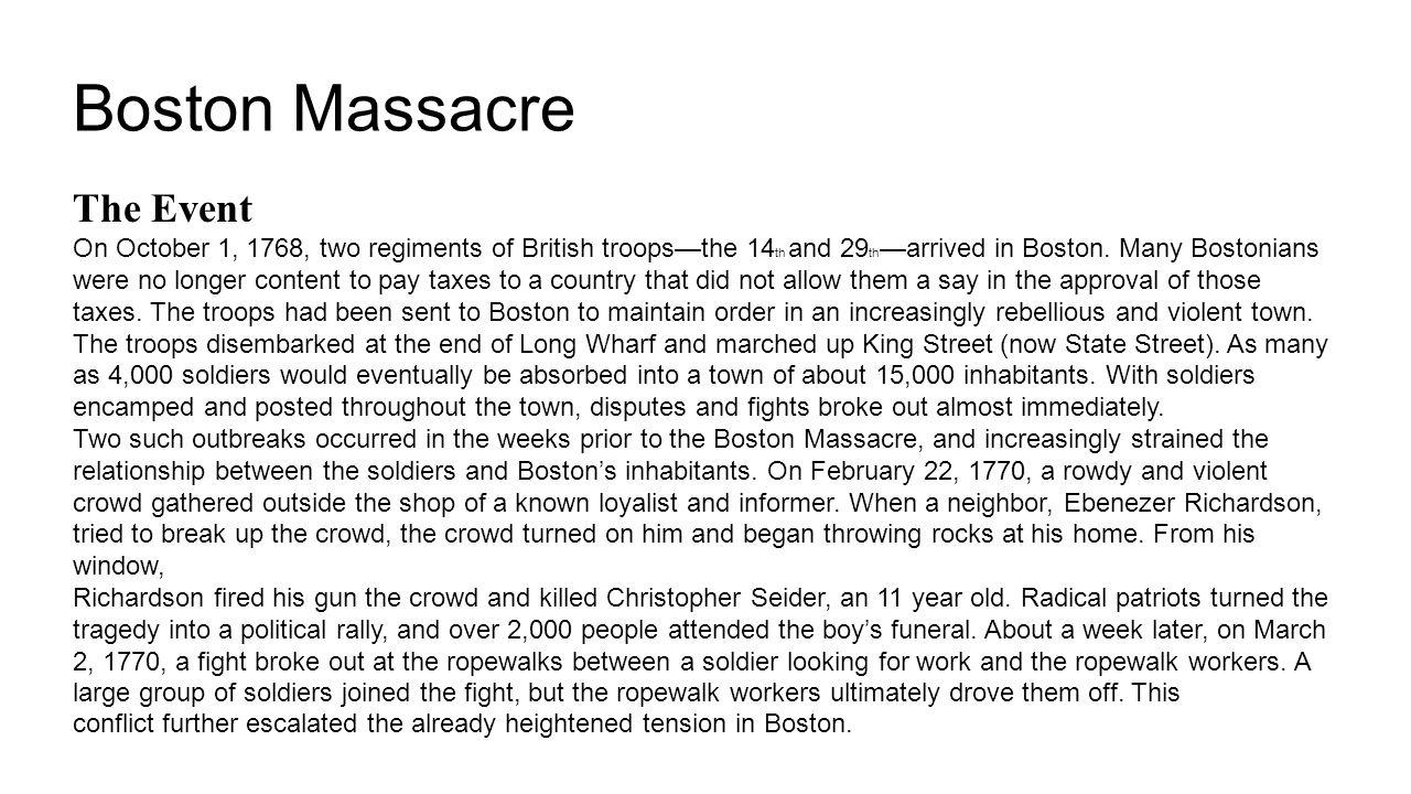 Boston Massacre The Event