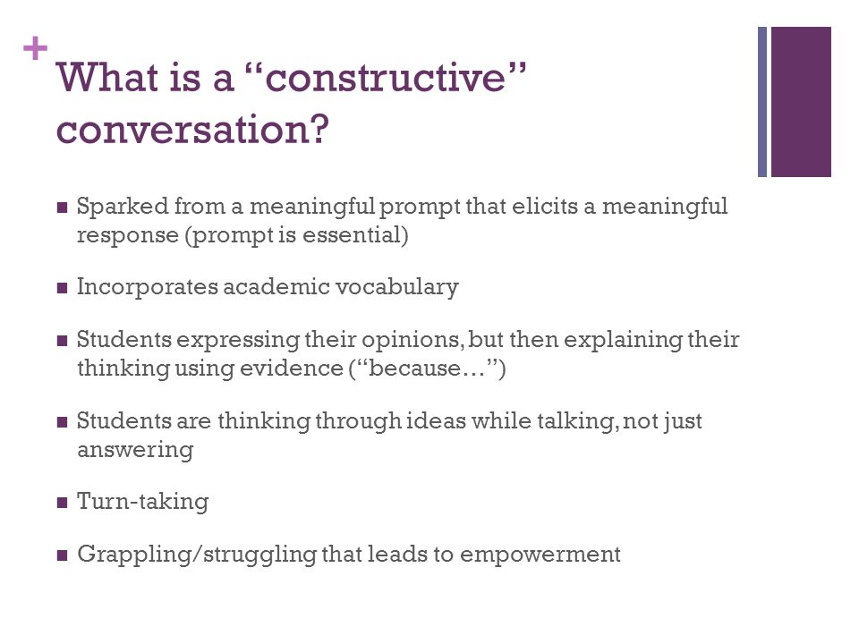 What is a constructive conversation