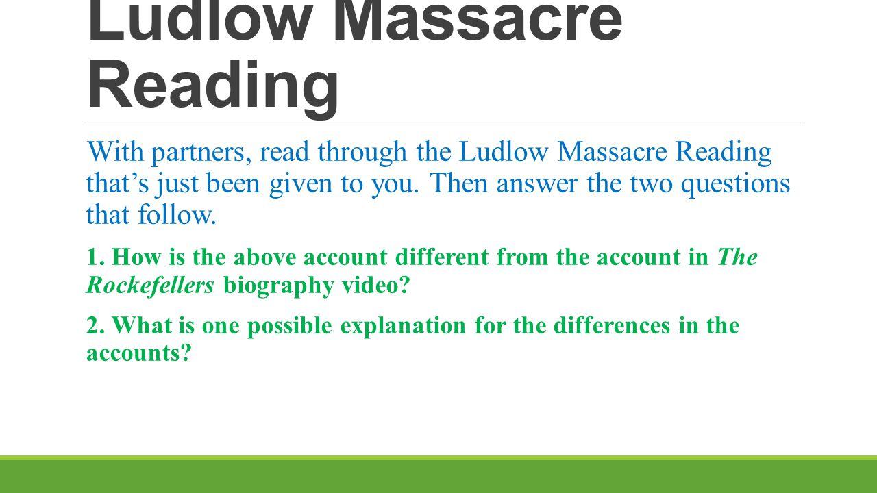 Ludlow Massacre Reading