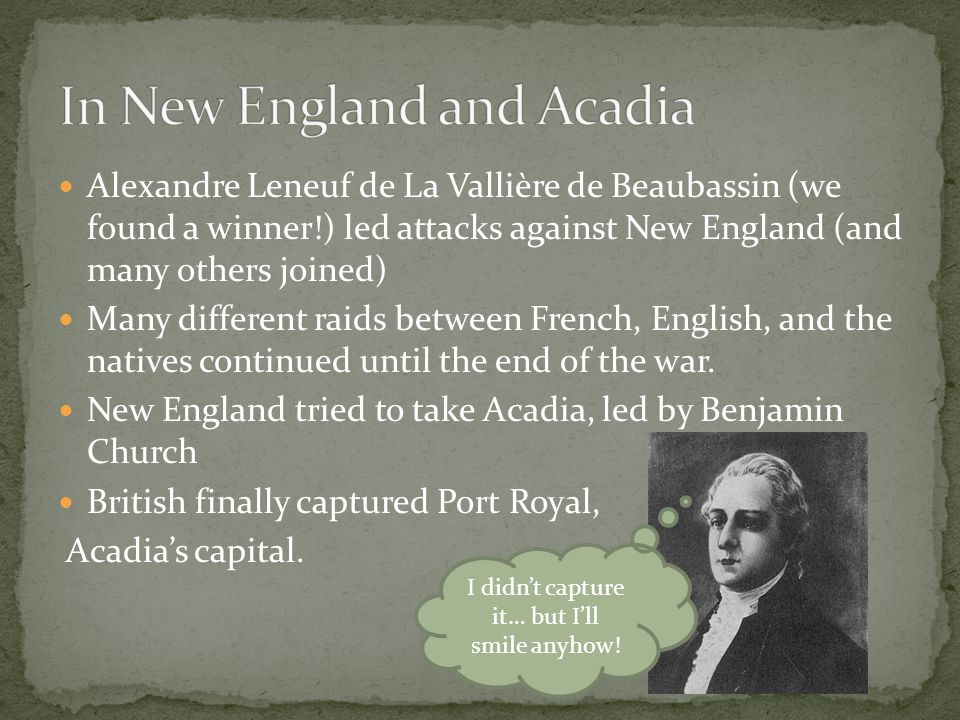 In New England and Acadia