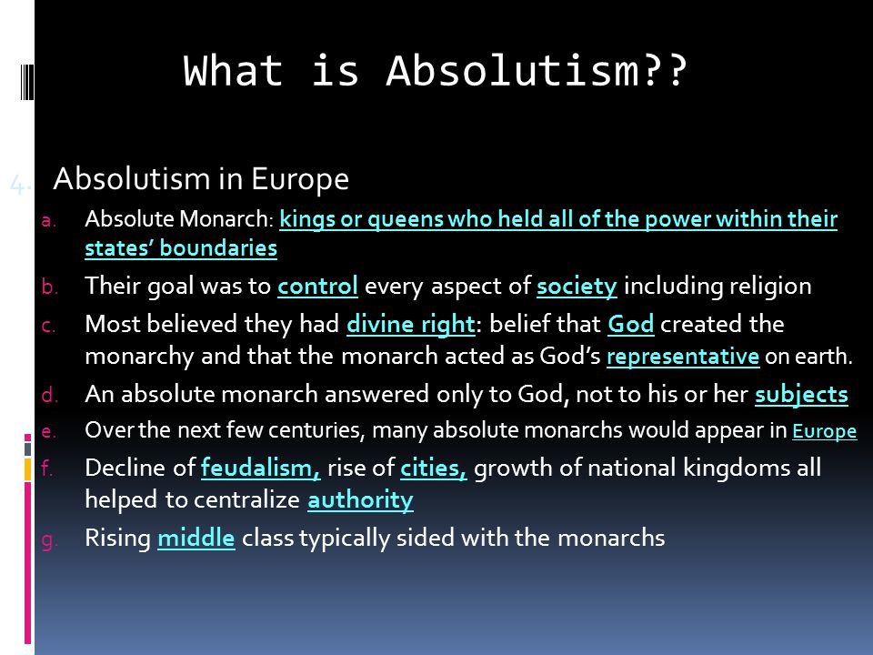 What is Absolutism Absolutism in Europe