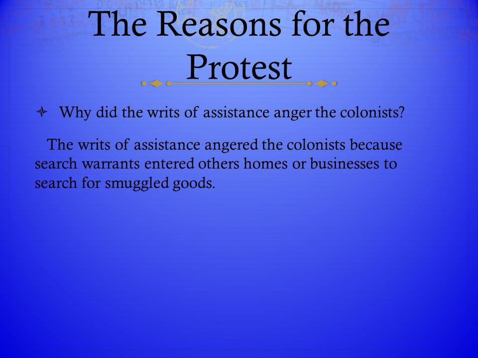 The Reasons for the Protest