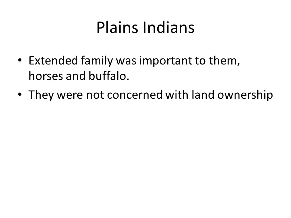Plains Indians Extended family was important to them, horses and buffalo.