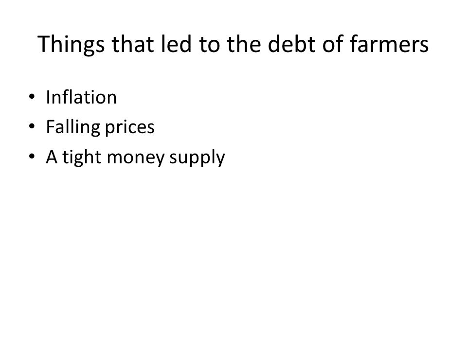 Things that led to the debt of farmers
