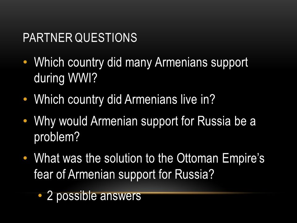 Which country did many Armenians support during WWI