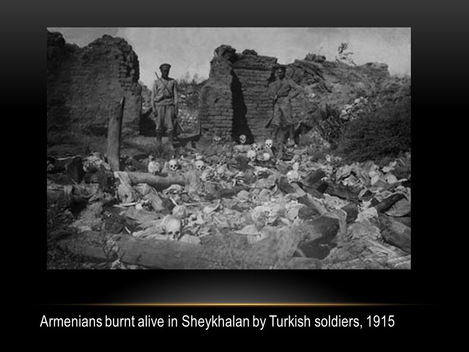 Armenians burnt alive in Sheykhalan by Turkish soldiers, 1915