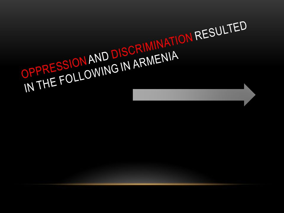 Oppression and Discrimination resulted in the following in Armenia