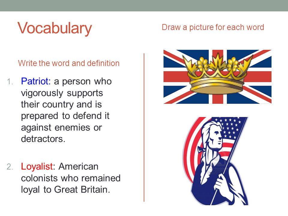Vocabulary Draw a picture for each word. Write the word and definition.