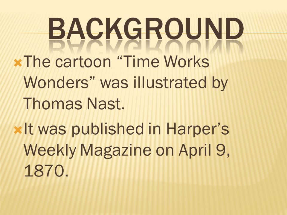 Background The cartoon Time Works Wonders was illustrated by Thomas Nast.