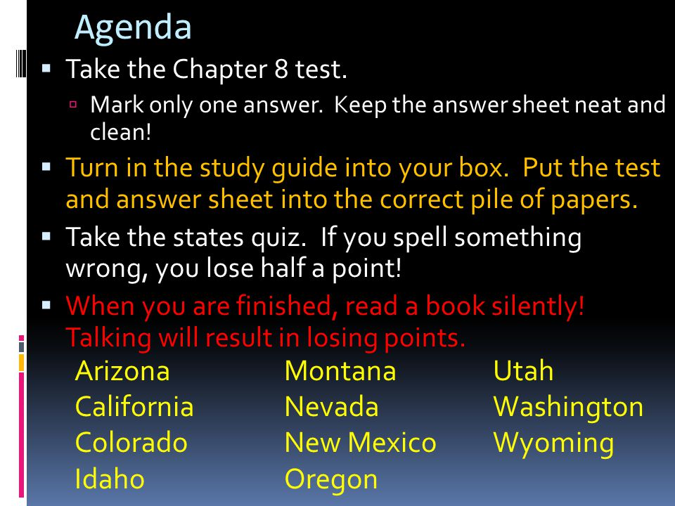 Agenda Arizona Montana Utah California Nevada Washington Colorado