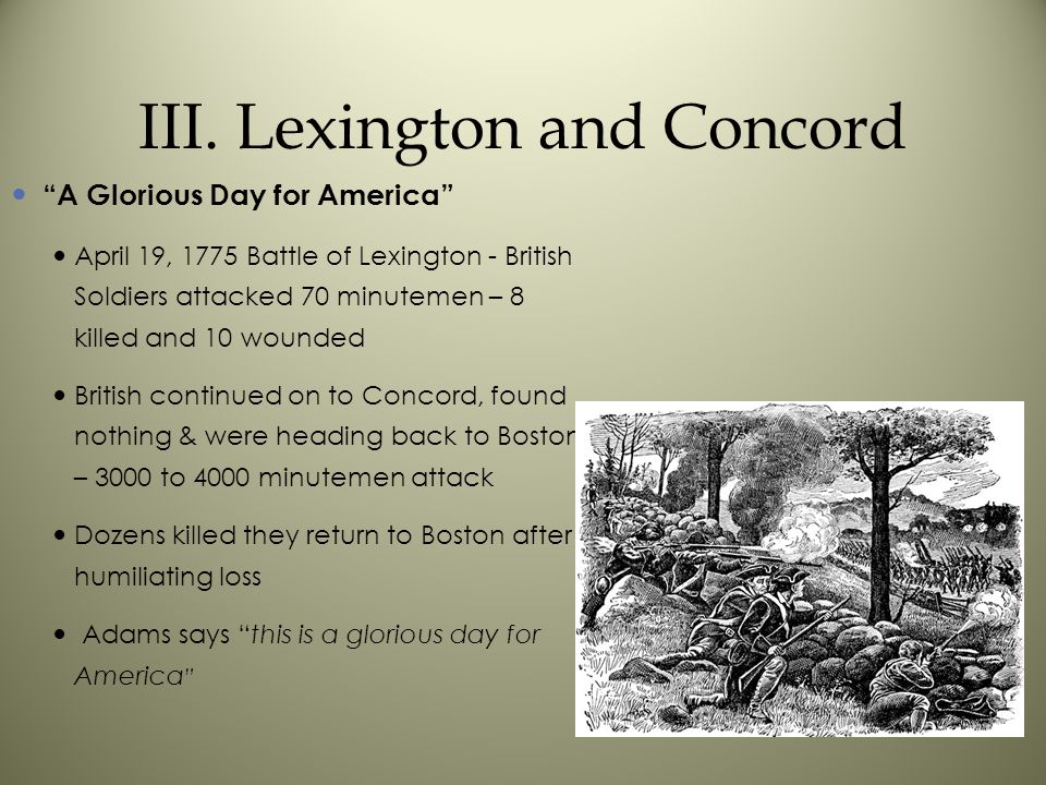 III. Lexington and Concord