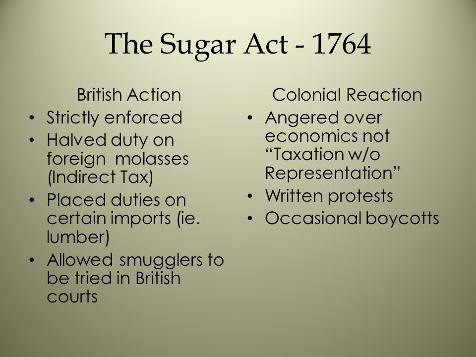 The Sugar Act - 1764 British Action Strictly enforced