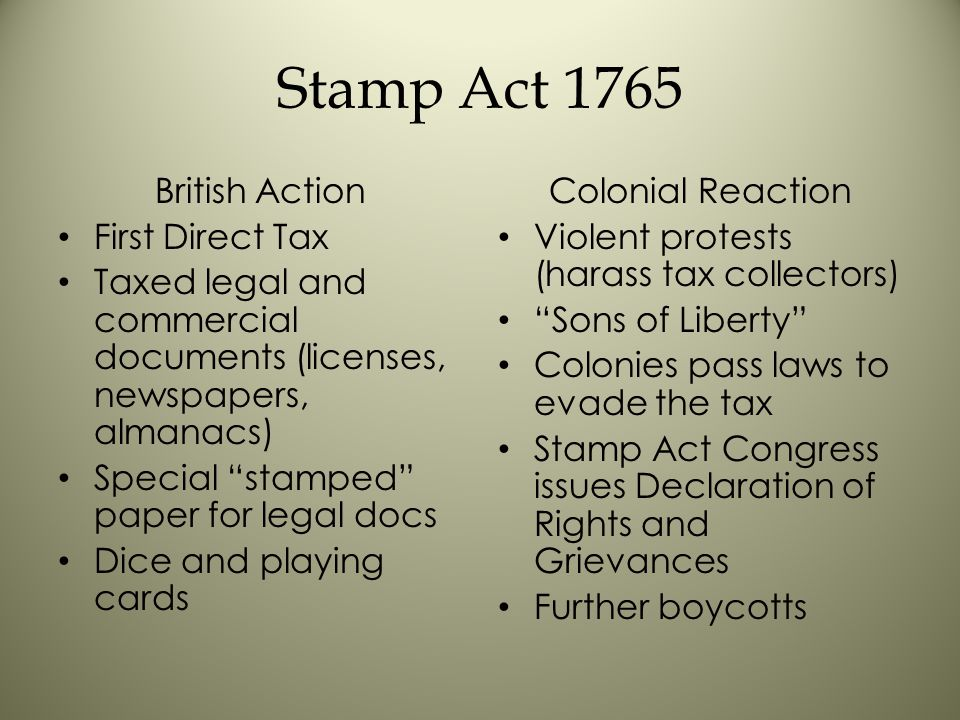 Stamp Act 1765 British Action First Direct Tax