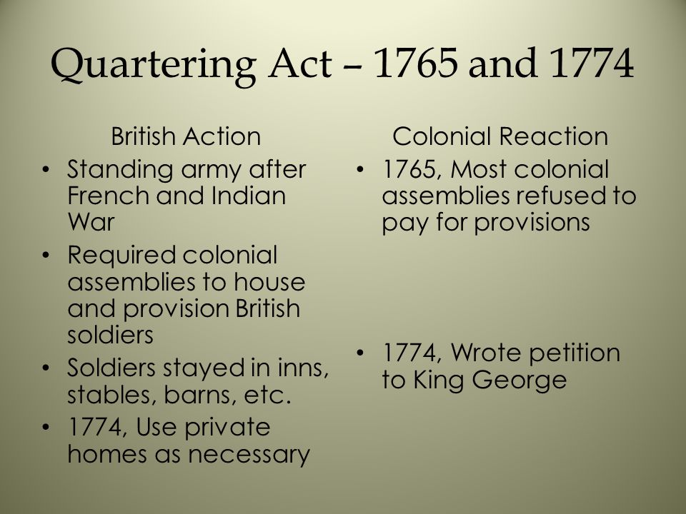 Quartering Act – 1765 and 1774 British Action