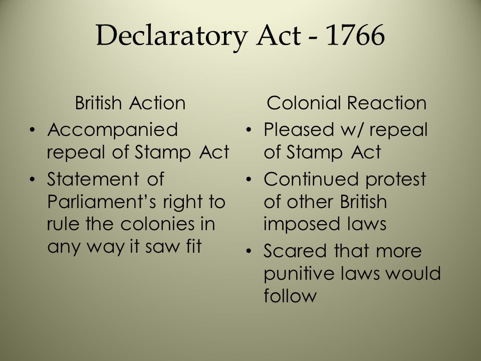 Declaratory Act - 1766 British Action Accompanied repeal of Stamp Act