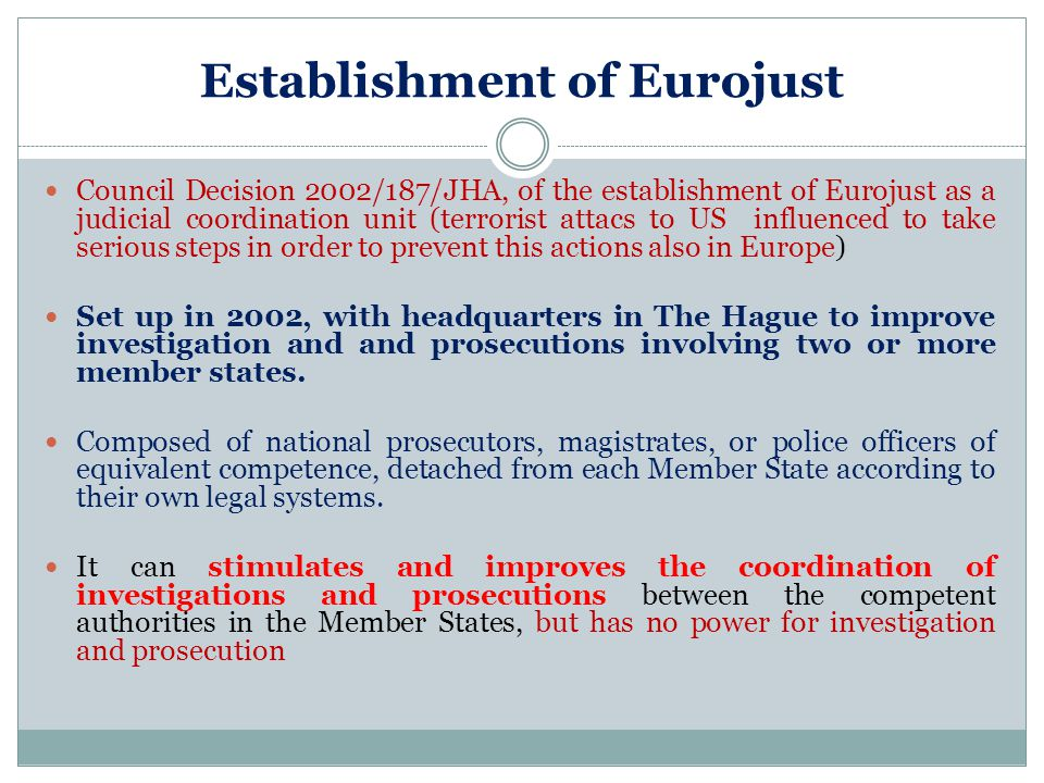 Establishment of Eurojust