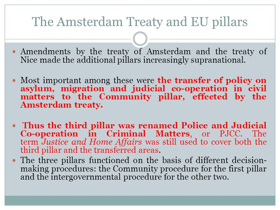 The Amsterdam Treaty and EU pillars